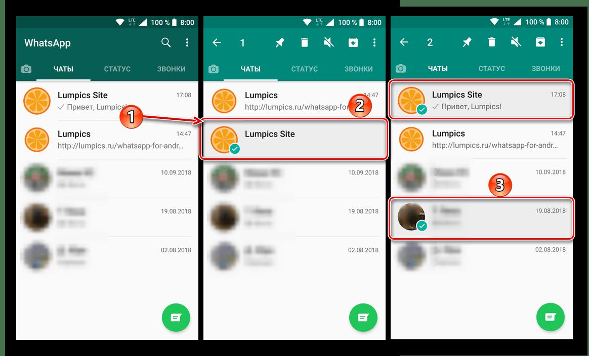 Выделение чатов для удаления в WhatsApp Messenger для Android