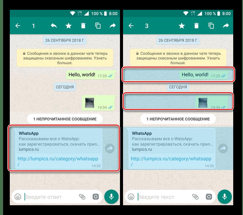 Выделите сообщение, чтобы удалить его из разговора в приложении WhatsApp для Android